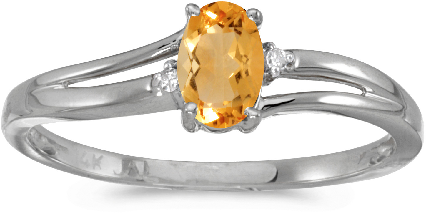 14k White Gold Oval Citrine And Diamond Ring (CM-RM1992XW-11)