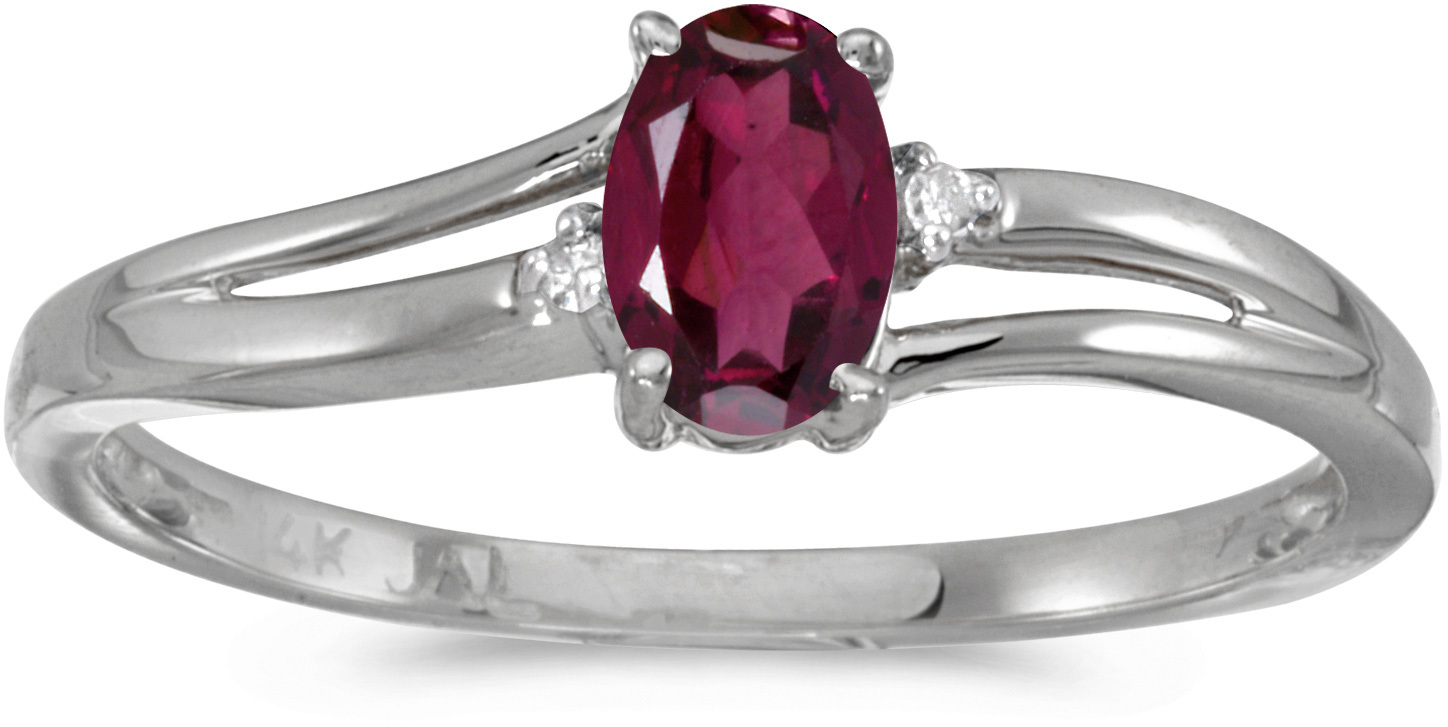 14k White Gold Oval Rhodolite Garnet And Diamond Ring (CM-RM1992XW-RG)