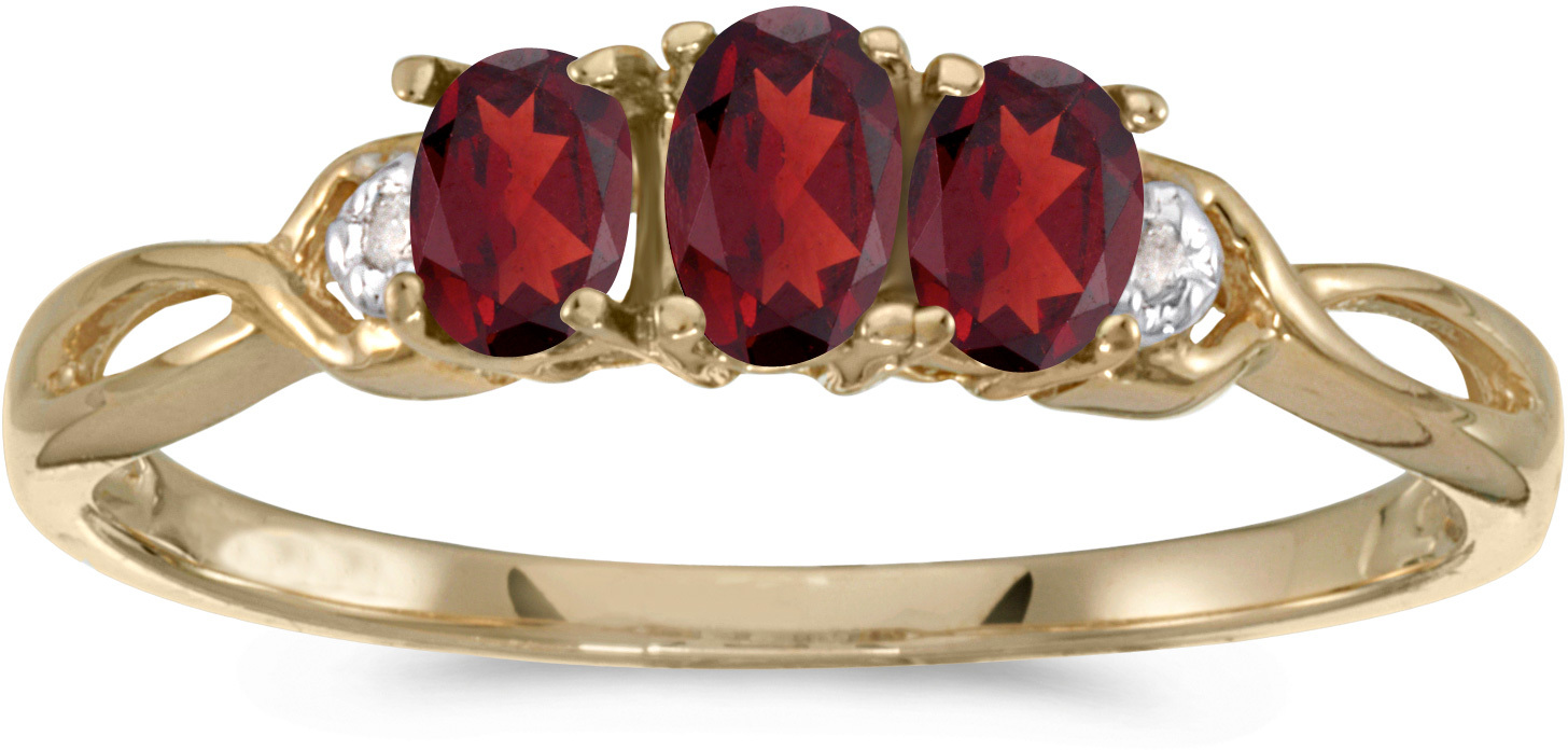 10k Yellow Gold Oval Garnet And Diamond Three Stone Ring (CM-RM2521-01)