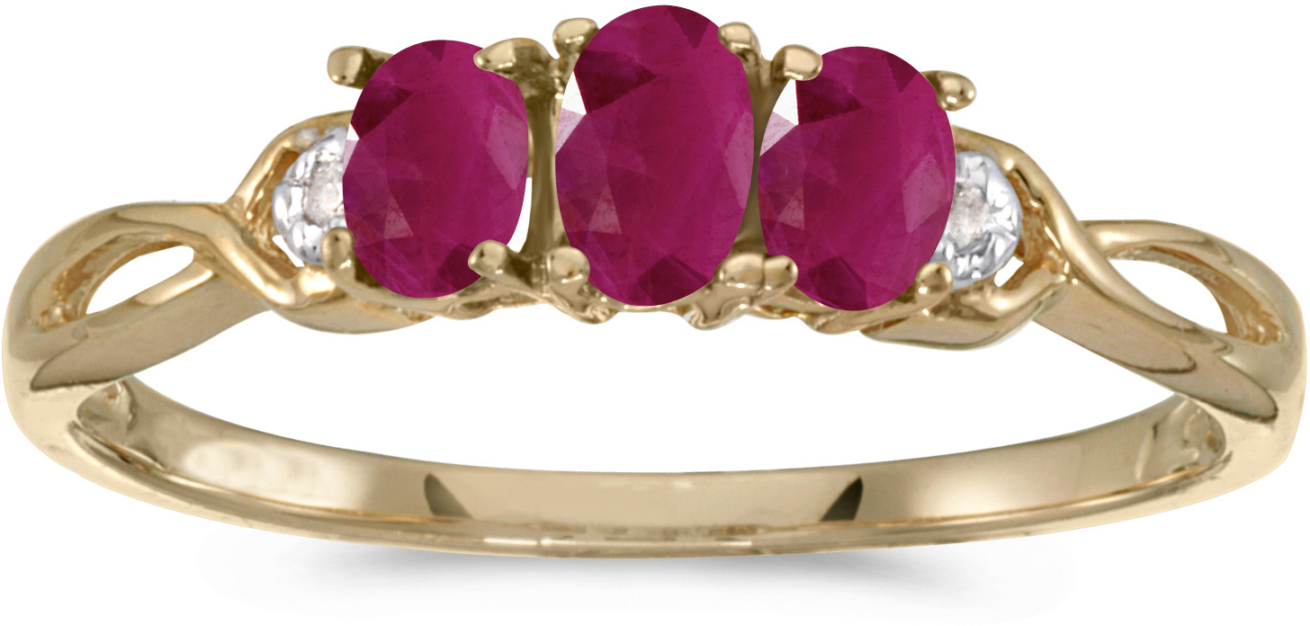 10k Yellow Gold Oval Ruby And Diamond Three Stone Ring (CM-RM2521-07)