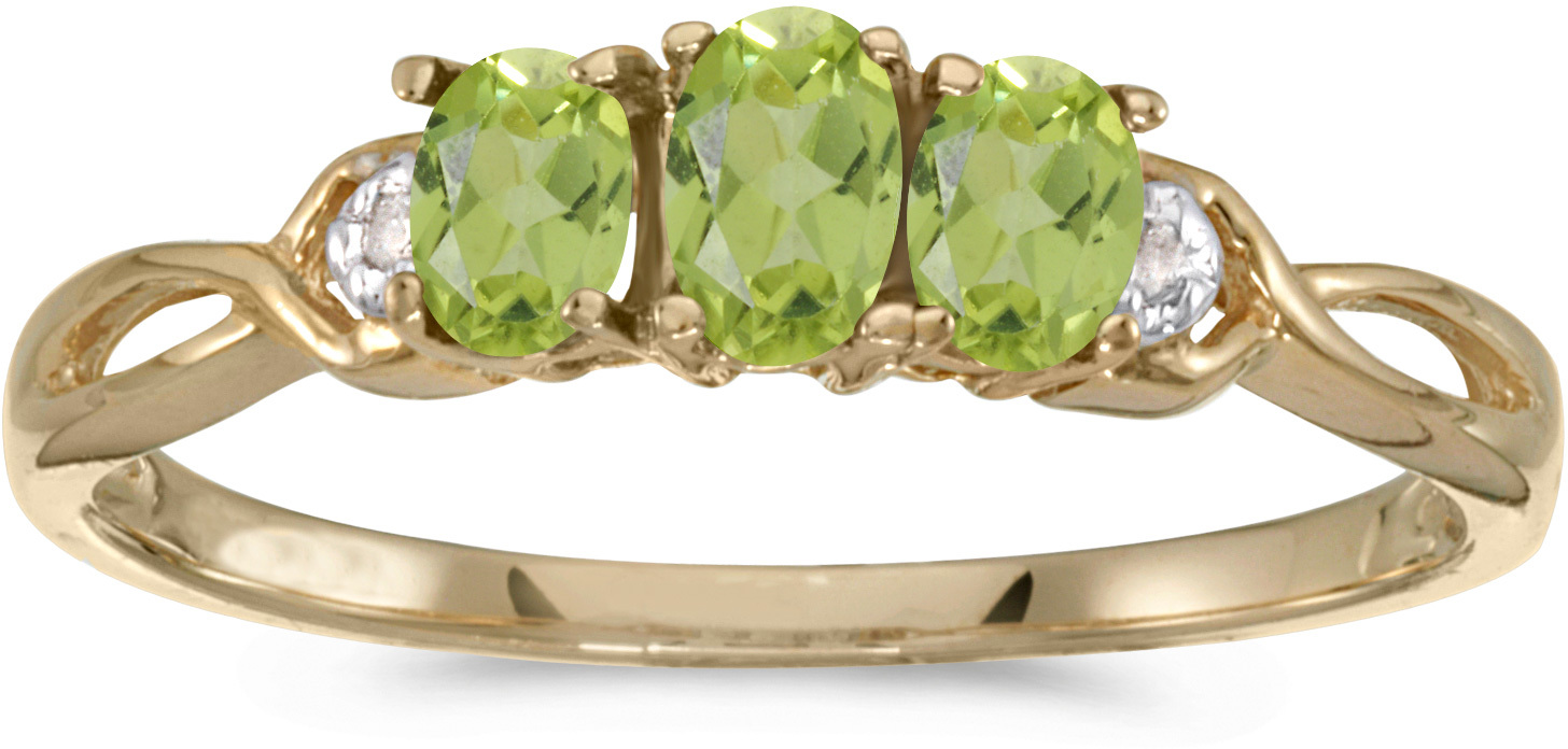 10k Yellow Gold Oval Peridot And Diamond Three Stone Ring (CM-RM2521-08)