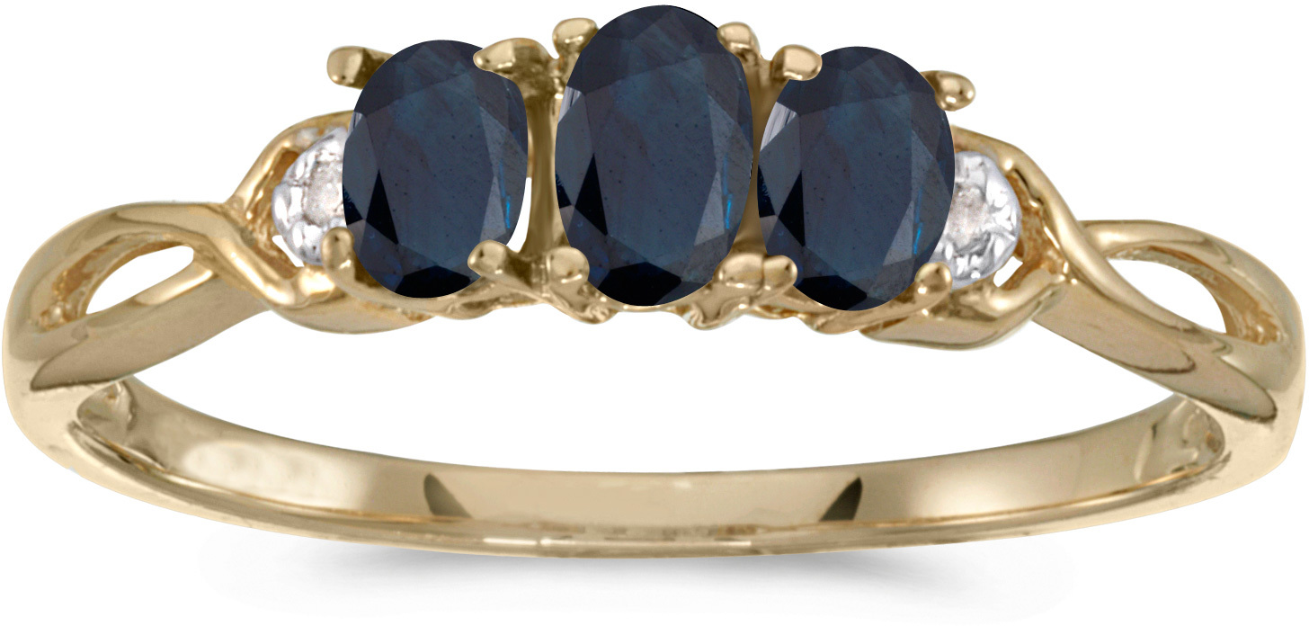 10k Yellow Gold Oval Sapphire And Diamond Three Stone Ring (CM-RM2521-09)