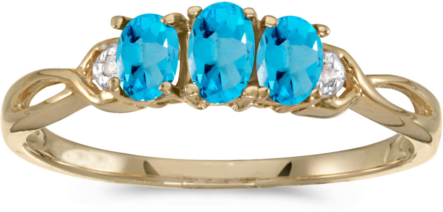 10k Yellow Gold Oval Blue Topaz And Diamond Three Stone Ring (CM-RM2521-12)
