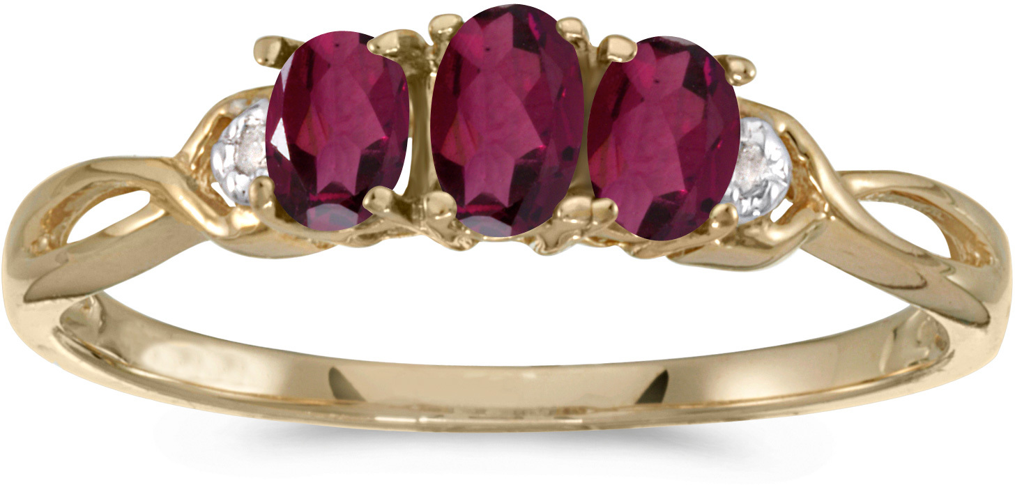 10k Yellow Gold Oval Rhodolite Garnet And Diamond Three Stone Ring (CM-RM2521-RG)