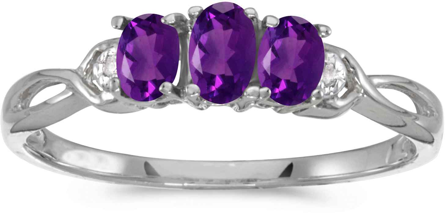 10k White Gold Oval Amethyst And Diamond Three Stone Ring (CM-RM2521W-02)