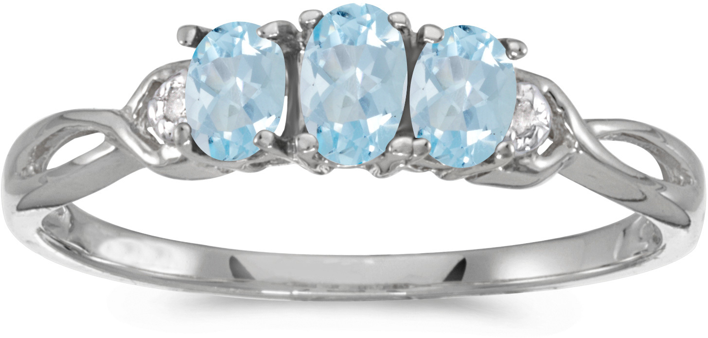 10k White Gold Oval Aquamarine And Diamond Three Stone Ring (CM-RM2521W-03)