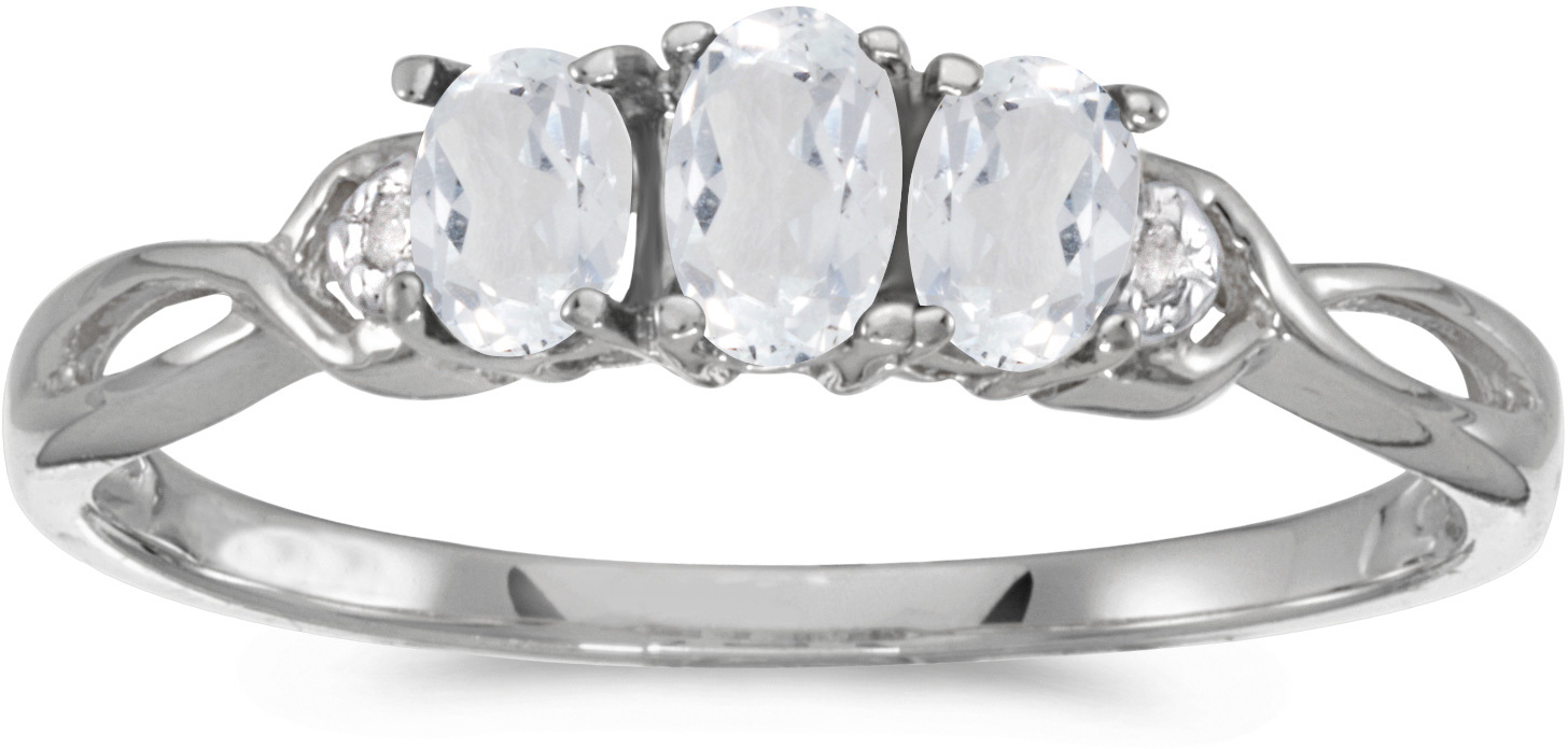 10k White Gold Oval White Topaz And Diamond Three Stone Ring (CM-RM2521W-04)