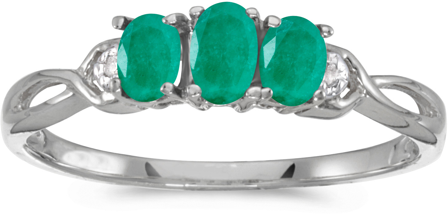 10k White Gold Oval Emerald And Diamond Three Stone Ring (CM-RM2521W-05)