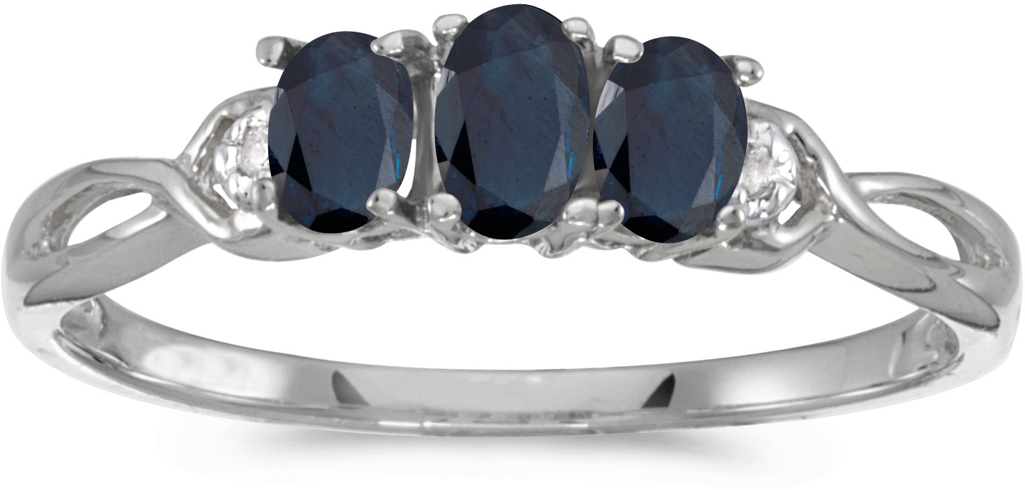 10k White Gold Oval Sapphire And Diamond Three Stone Ring (CM-RM2521W-09)