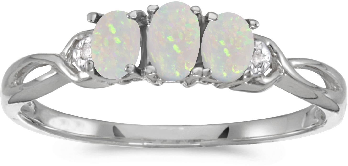 10k White Gold Oval Opal And Diamond Three Stone Ring (CM-RM2521W-10)