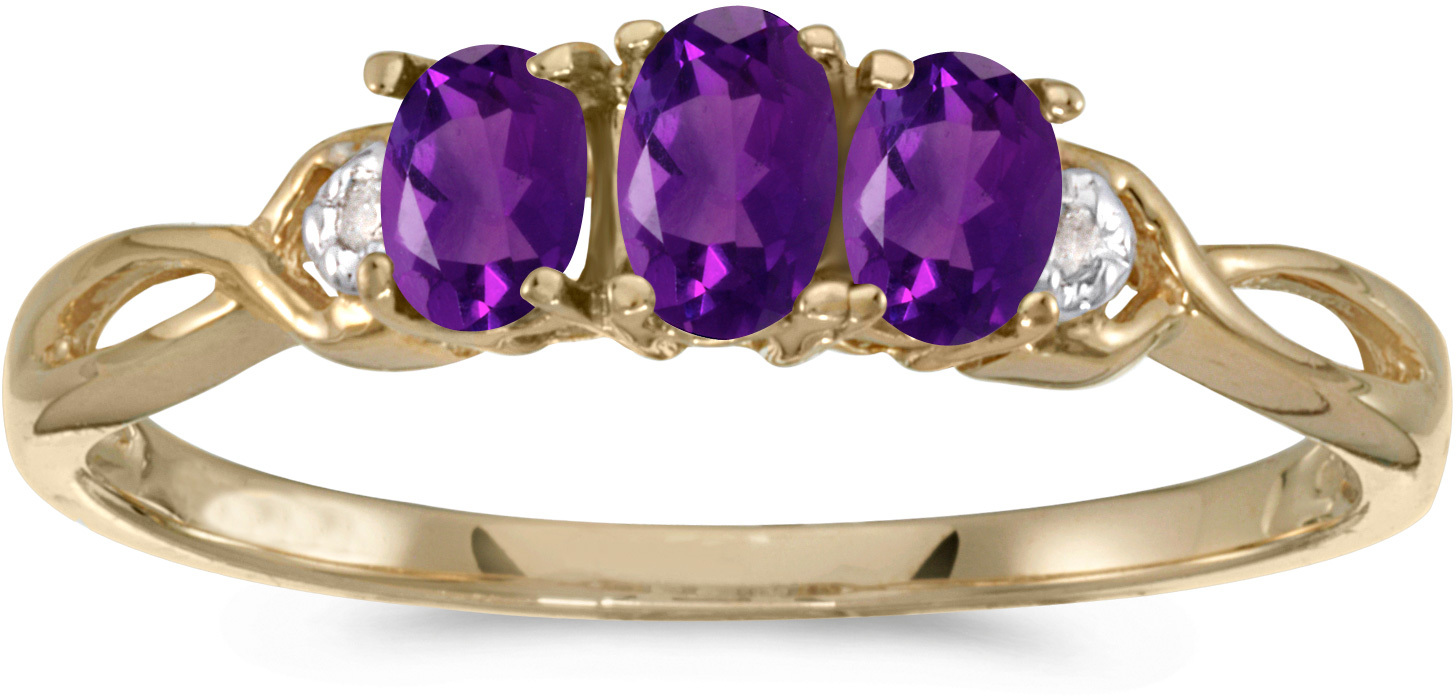 14k Yellow Gold Oval Amethyst And Diamond Three Stone Ring (CM-RM2521X-02)