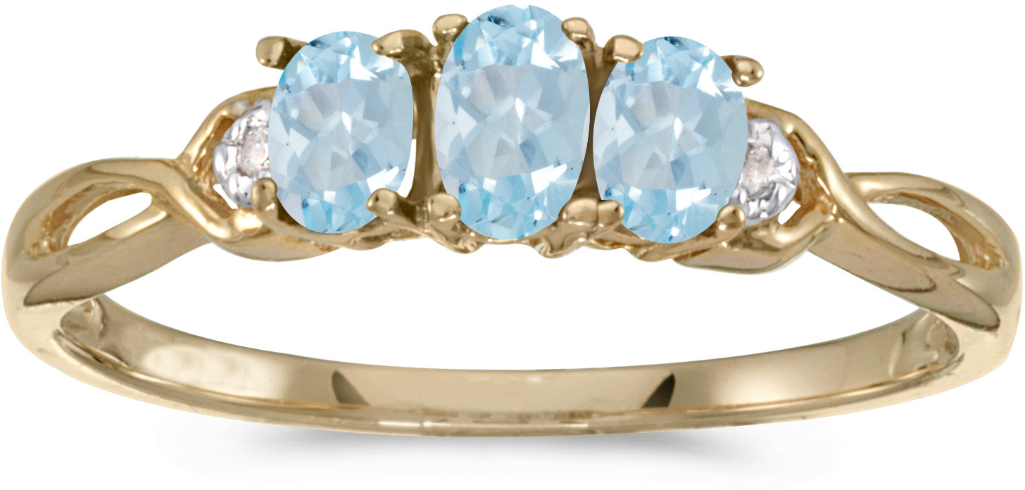 14k Yellow Gold Oval Aquamarine And Diamond Three Stone Ring (CM-RM2521X-03)
