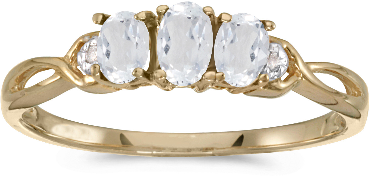 14k Yellow Gold Oval White Topaz And Diamond Three Stone Ring (CM-RM2521X-04)