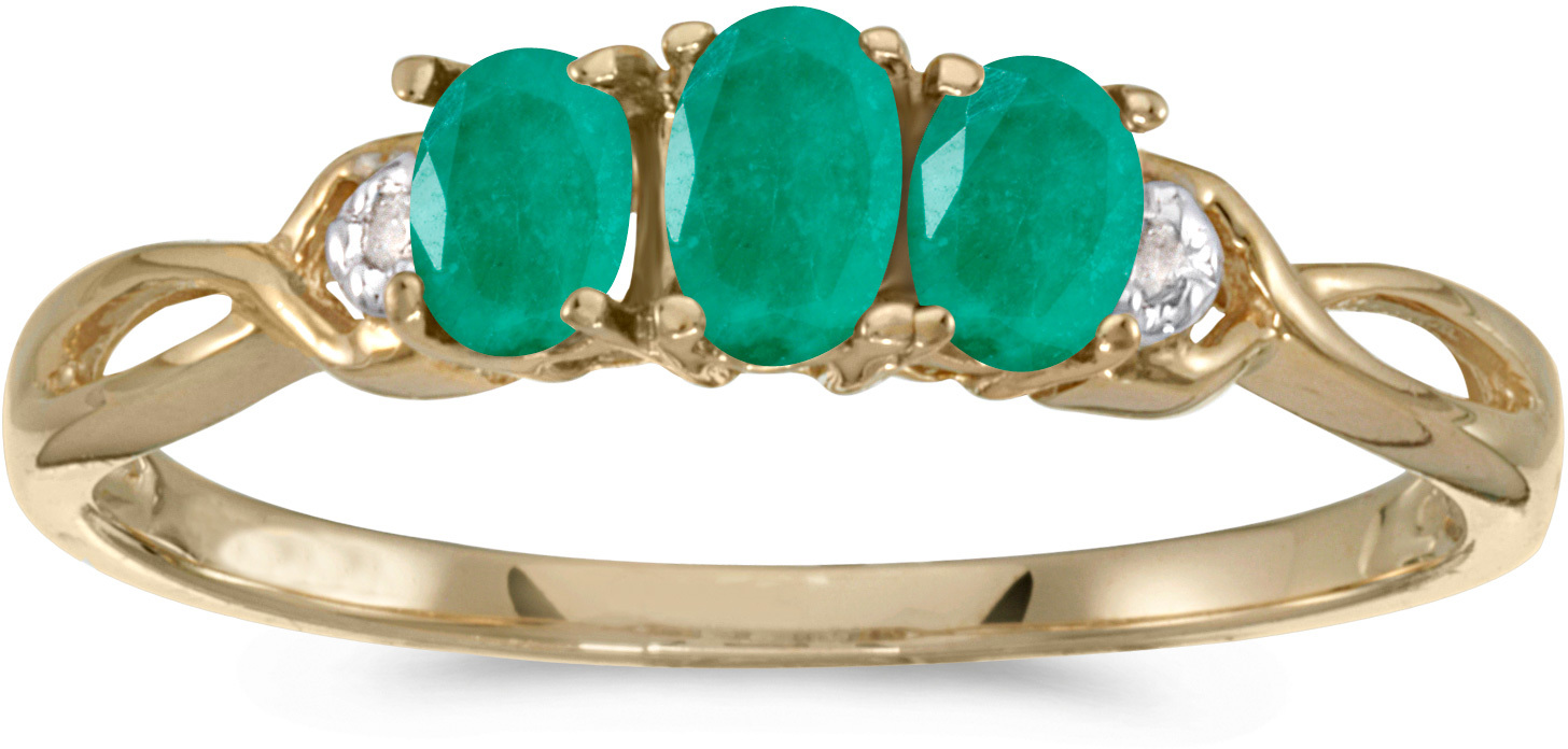 14k Yellow Gold Oval Emerald And Diamond Three Stone Ring (CM-RM2521X-05)