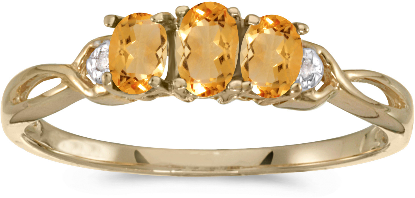 14k Yellow Gold Oval Citrine And Diamond Three Stone Ring (CM-RM2521X-11)