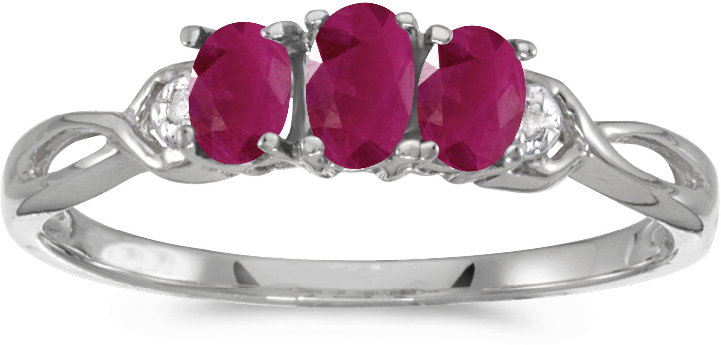 14k White Gold Oval Ruby And Diamond Three Stone Ring (CM-RM2521XW-07)