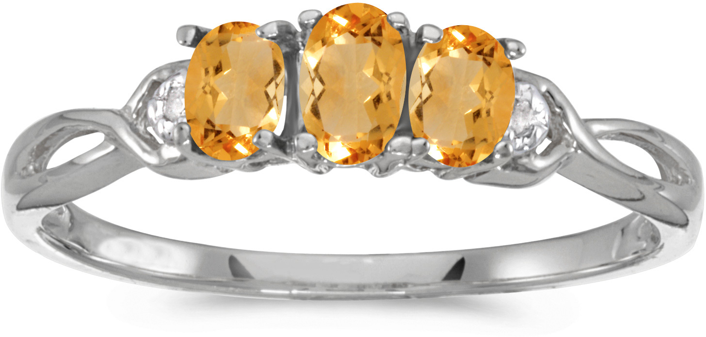 14k White Gold Oval Citrine And Diamond Three Stone Ring (CM-RM2521XW-11)