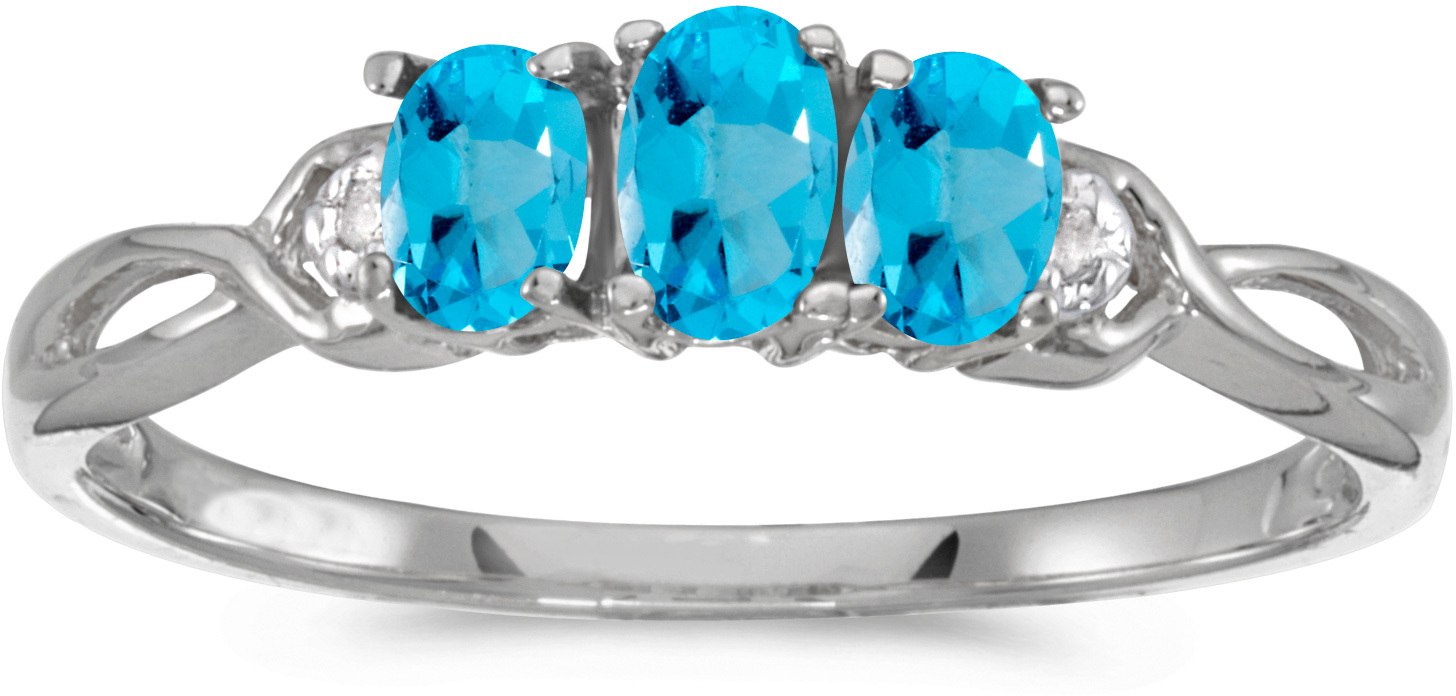 14k White Gold Oval Blue Topaz And Diamond Three Stone Ring (CM-RM2521XW-12)