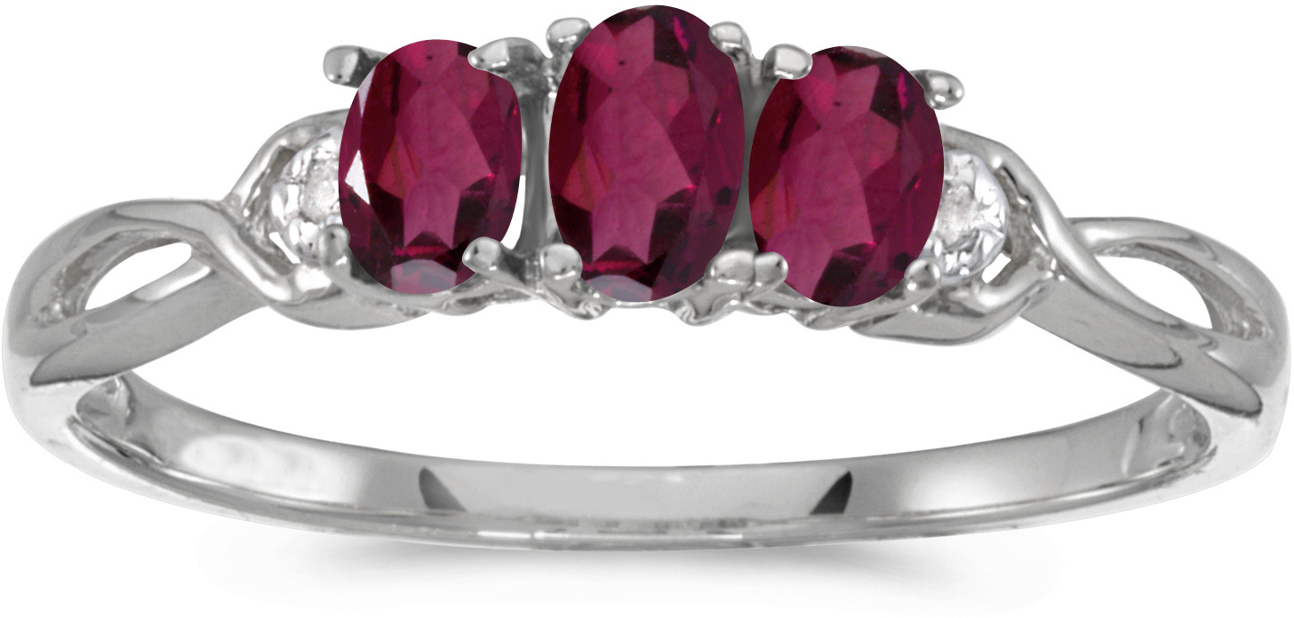 14k White Gold Oval Rhodolite Garnet And Diamond Three Stone Ring (CM-RM2521XW-RG)