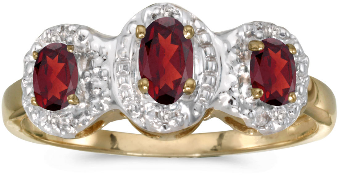 10k Yellow Gold Oval Garnet And Diamond Three Stone Ring (CM-RM2522-01)