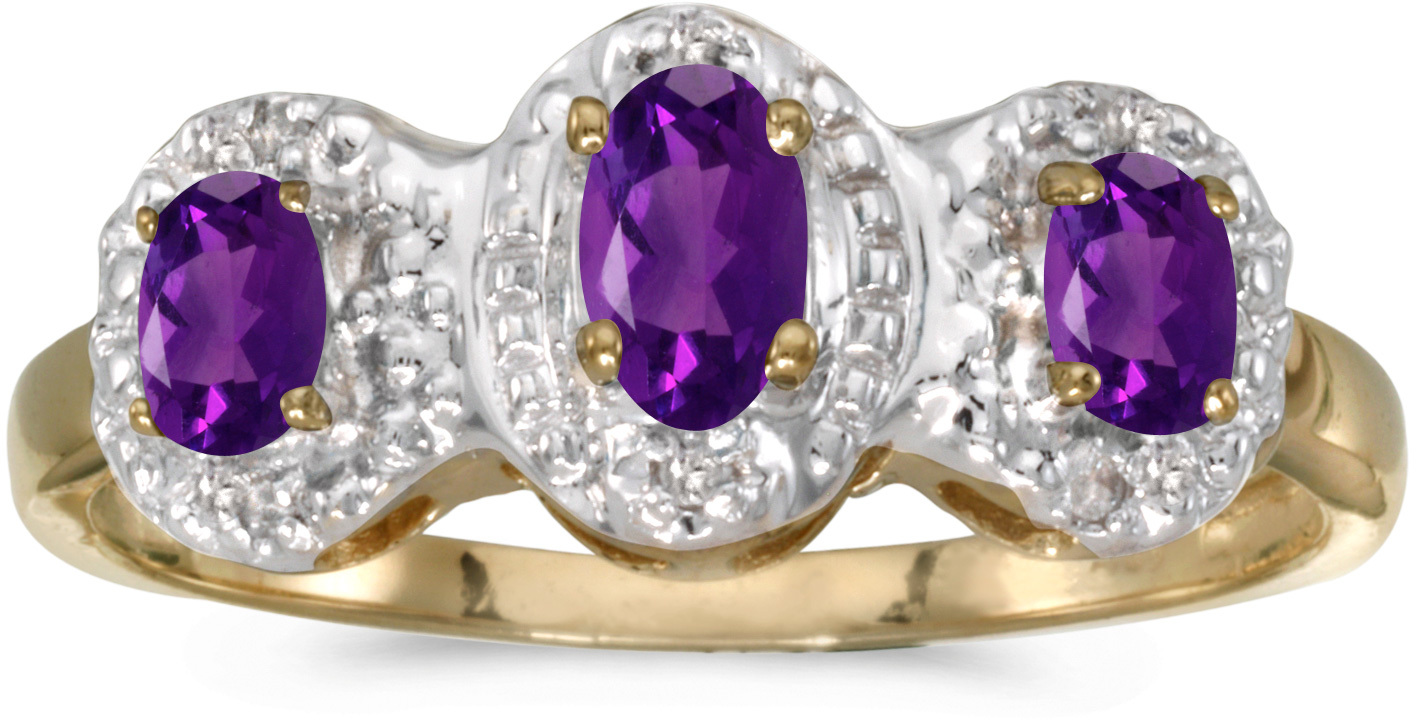10k Yellow Gold Oval Amethyst And Diamond Three Stone Ring (CM-RM2522-02)