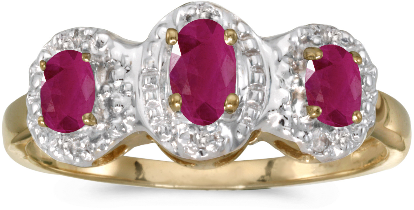 10k Yellow Gold Oval Ruby And Diamond Three Stone Ring (CM-RM2522-07)