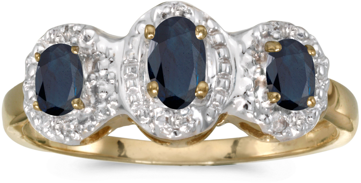 10k Yellow Gold Oval Sapphire And Diamond Three Stone Ring (CM-RM2522-09)