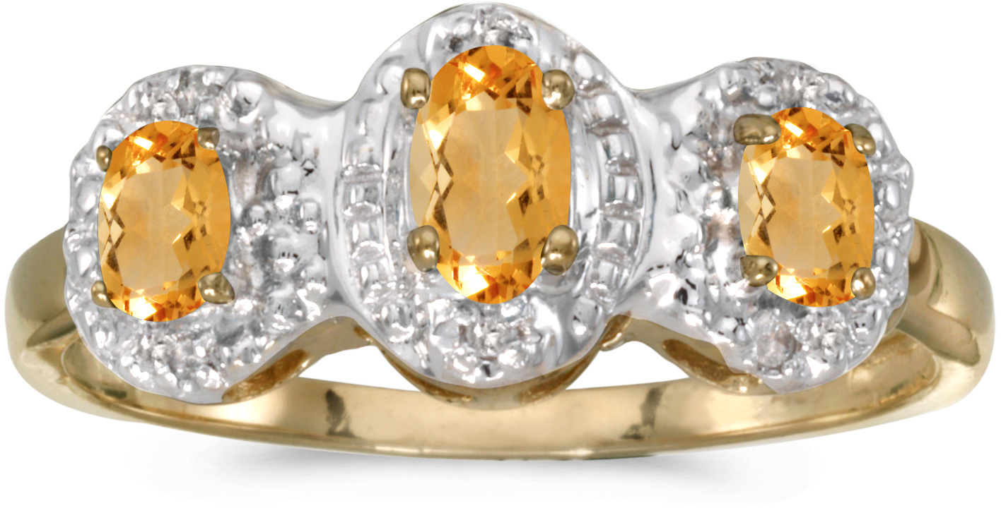 10k Yellow Gold Oval Citrine And Diamond Three Stone Ring (CM-RM2522-11)