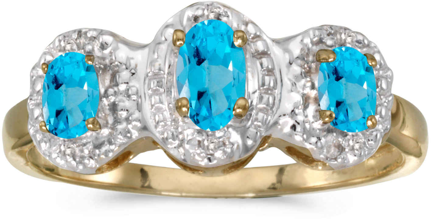 10k Yellow Gold Oval Blue Topaz And Diamond Three Stone Ring (CM-RM2522-12)