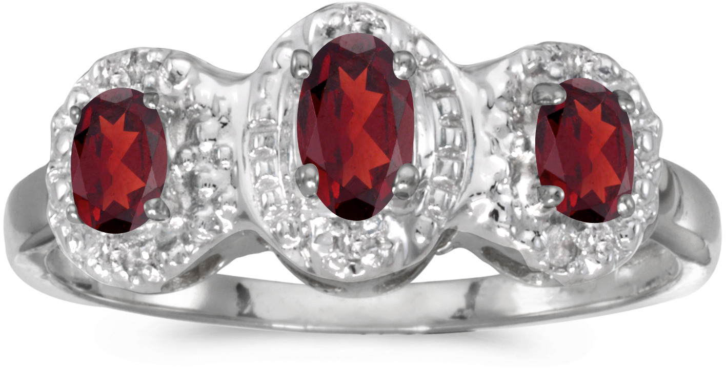 10k White Gold Oval Garnet And Diamond Three Stone Ring (CM-RM2522W-01)