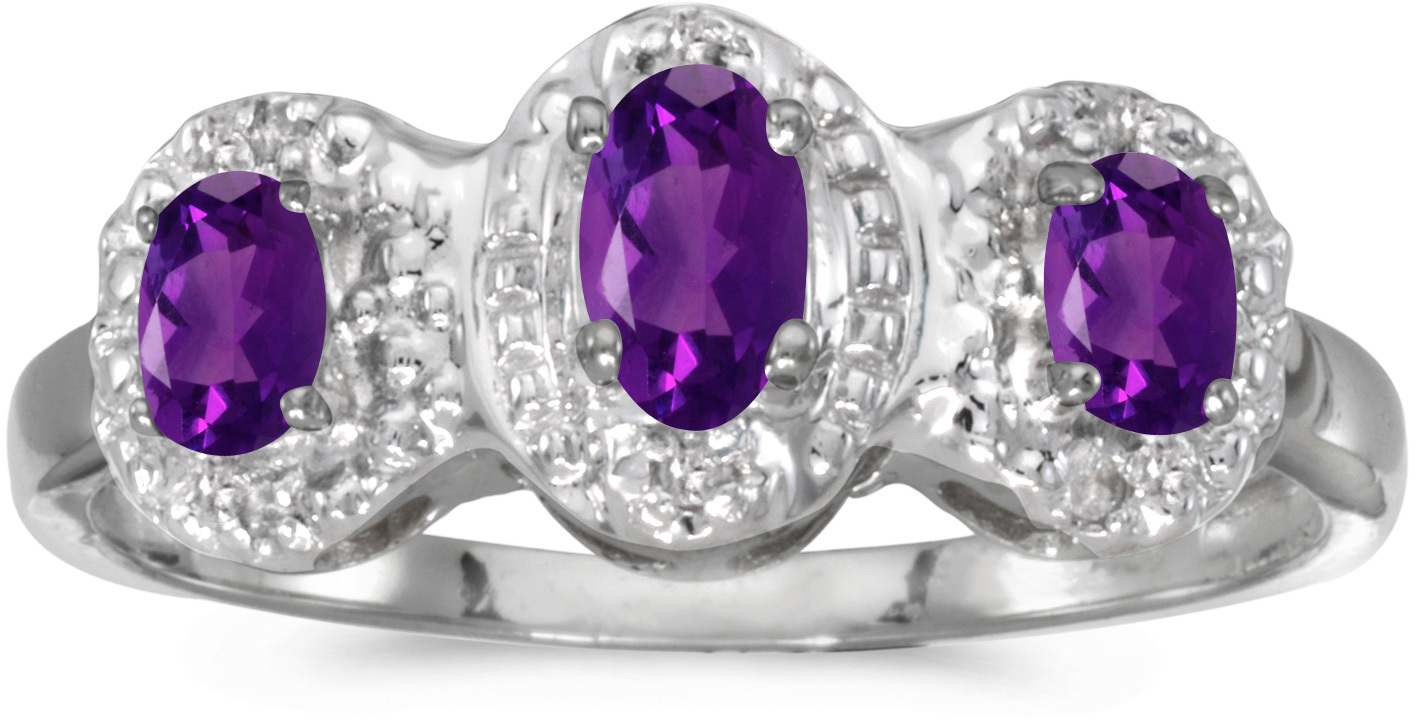 10k White Gold Oval Amethyst And Diamond Three Stone Ring (CM-RM2522W-02)