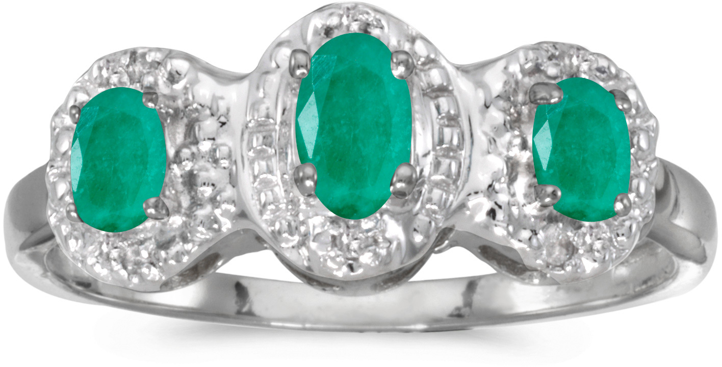 10k White Gold Oval Emerald And Diamond Three Stone Ring (CM-RM2522W-05)