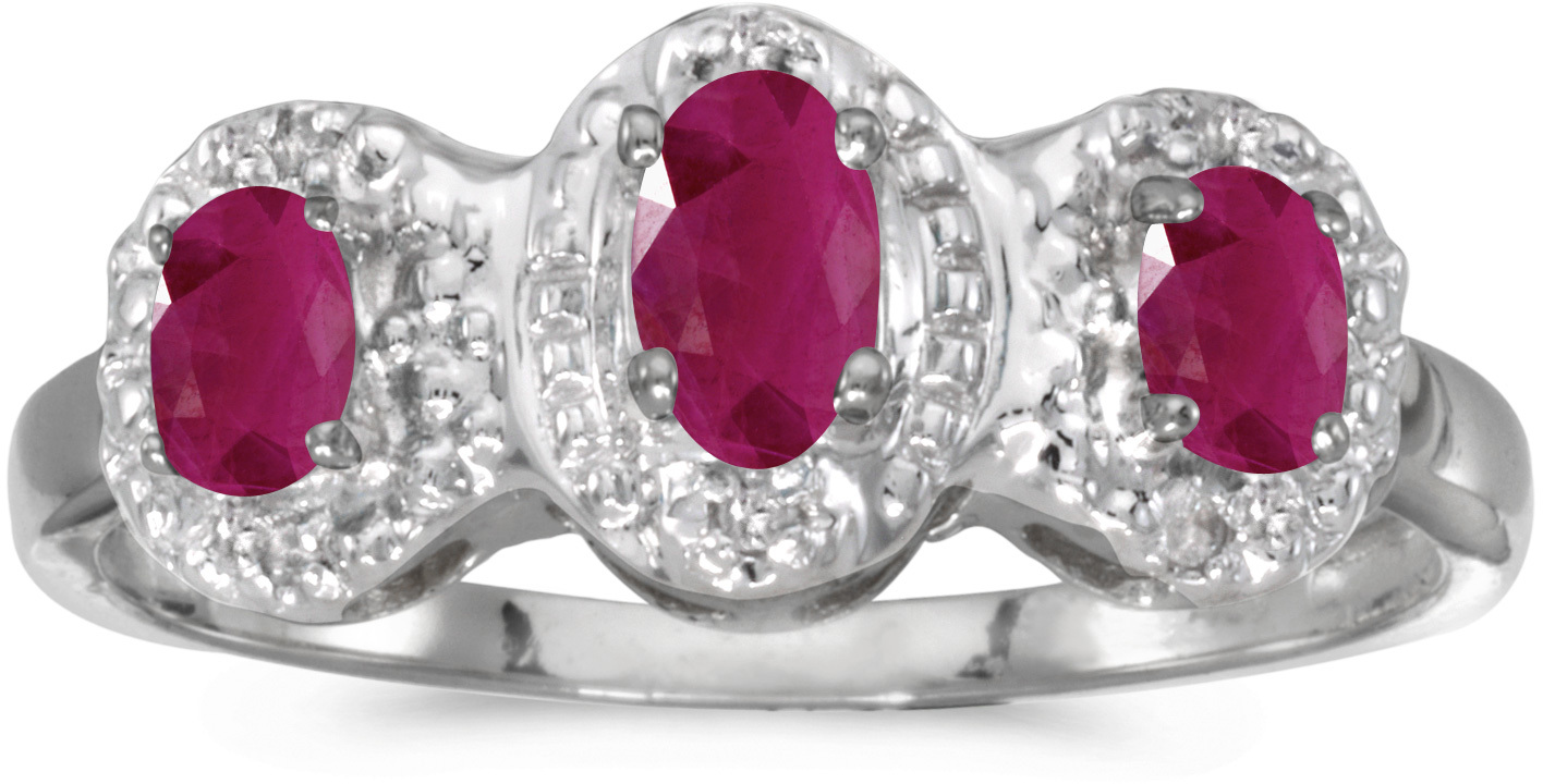 10k White Gold Oval Ruby And Diamond Three Stone Ring (CM-RM2522W-07)