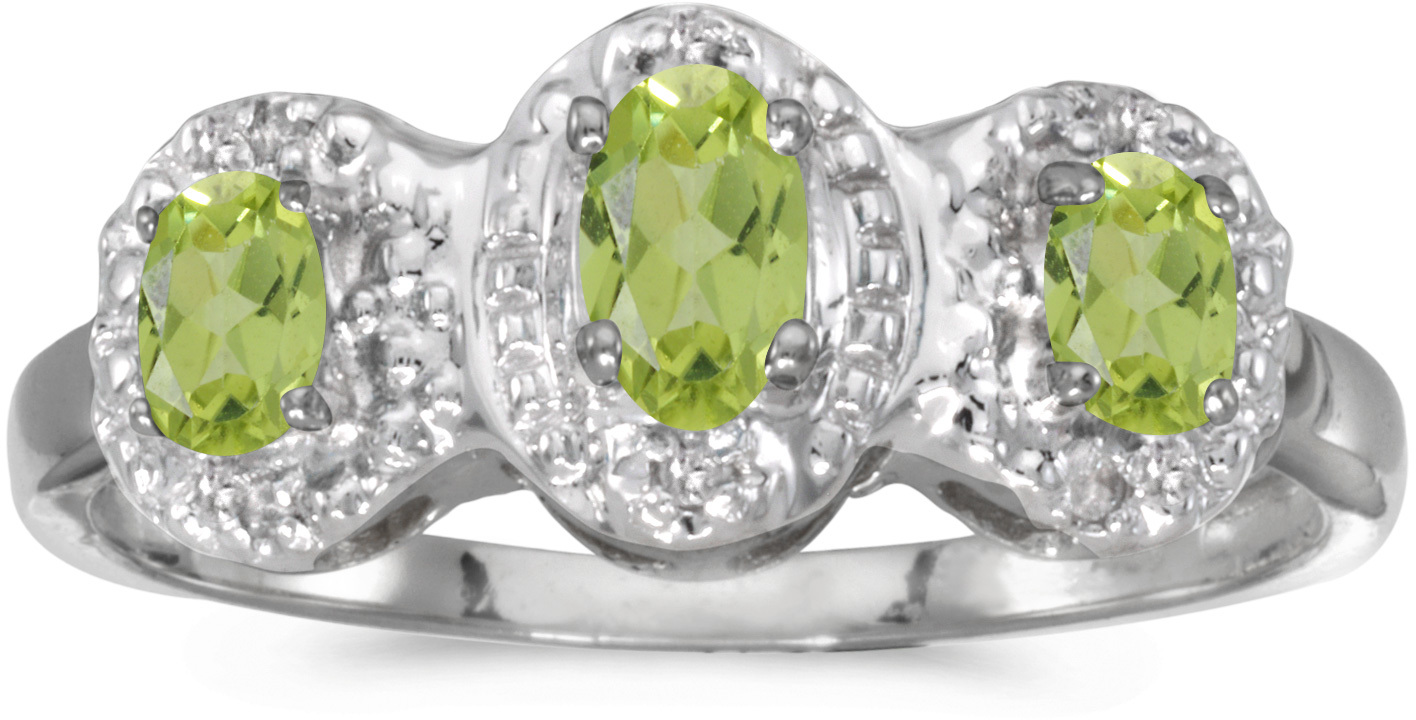 10k White Gold Oval Peridot And Diamond Three Stone Ring (CM-RM2522W-08)