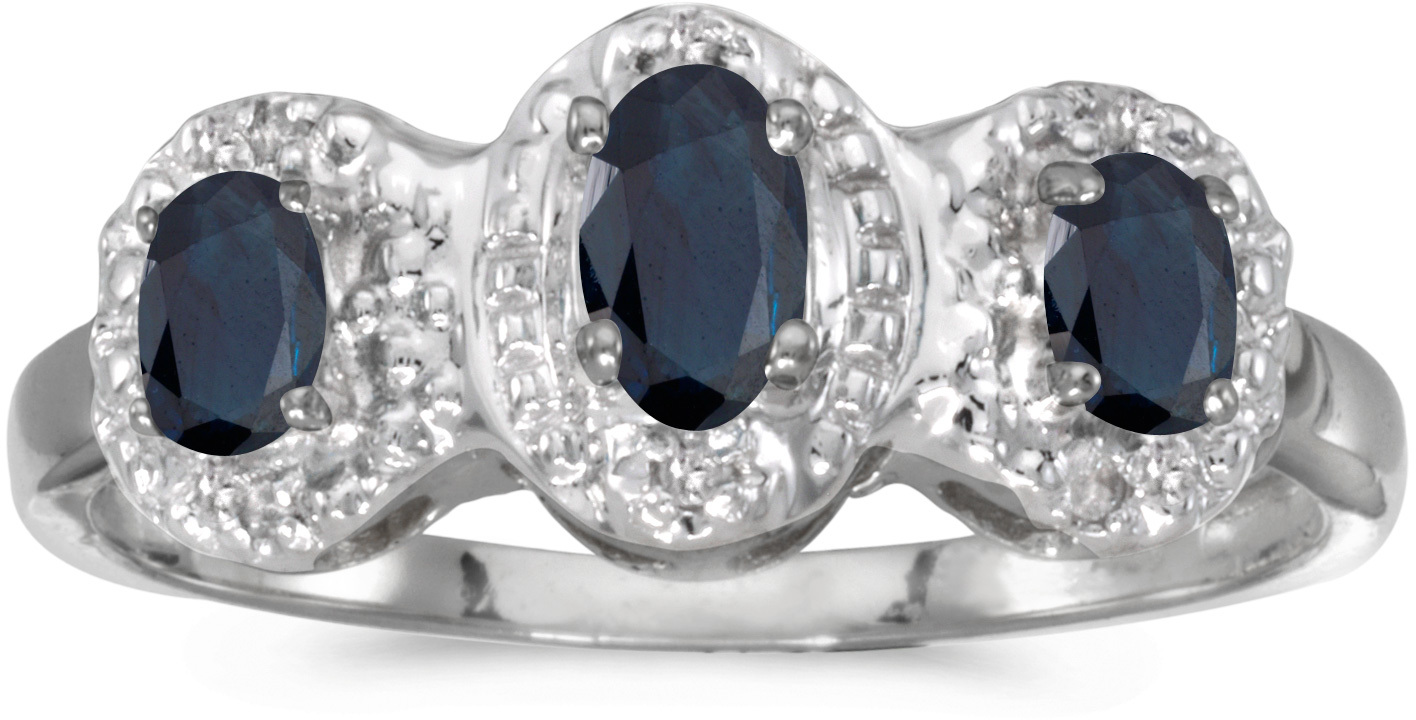 10k White Gold Oval Sapphire And Diamond Three Stone Ring (CM-RM2522W-09)
