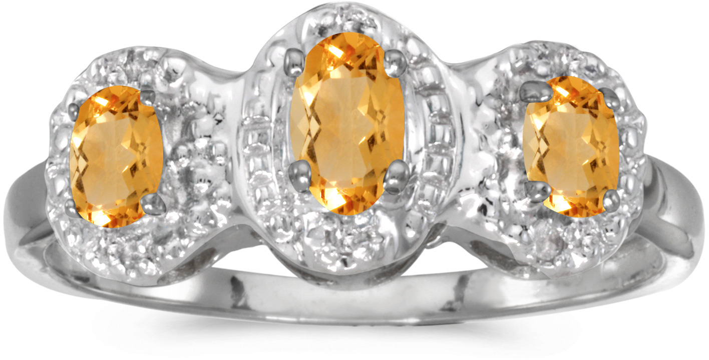 10k White Gold Oval Citrine And Diamond Three Stone Ring (CM-RM2522W-11)