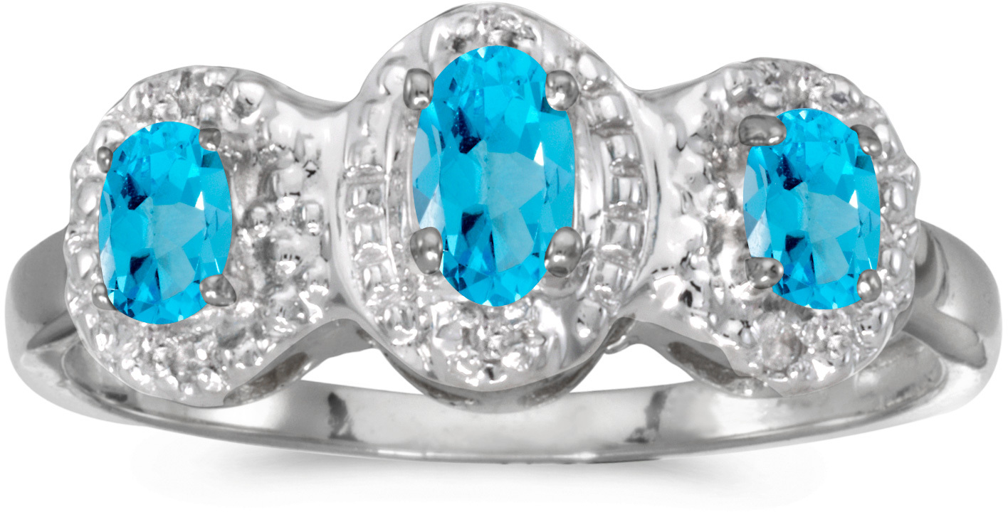 10k White Gold Oval Blue Topaz And Diamond Three Stone Ring (CM-RM2522W-12)