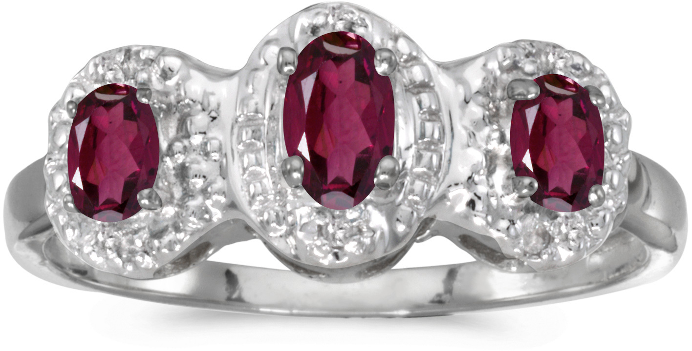 10k White Gold Oval Rhodolite Garnet And Diamond Three Stone Ring (CM-RM2522W-RG)