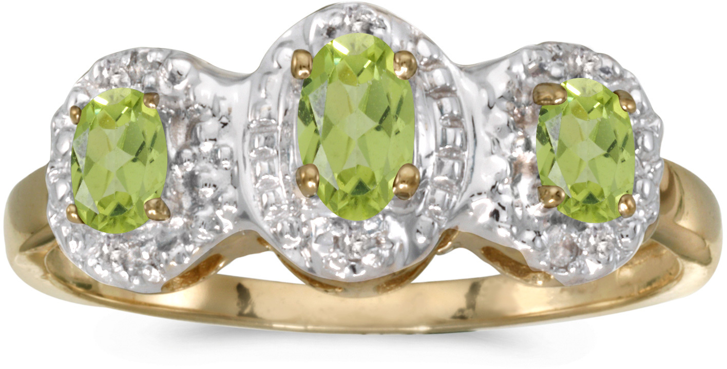 14k Yellow Gold Oval Peridot And Diamond Three Stone Ring (CM-RM2522X-08)