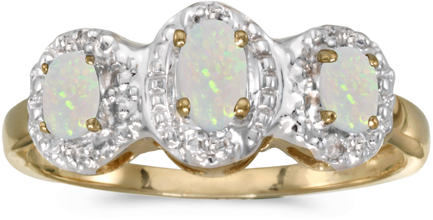 14k Yellow Gold Oval Opal And Diamond Three Stone Ring (CM-RM2522X-10)