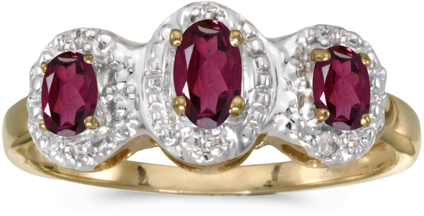 14k Yellow Gold Oval Rhodolite Garnet And Diamond Three Stone Ring (CM-RM2522X-RG)