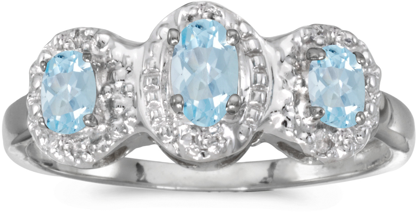 14k White Gold Oval Aquamarine And Diamond Three Stone Ring (CM-RM2522XW-03)