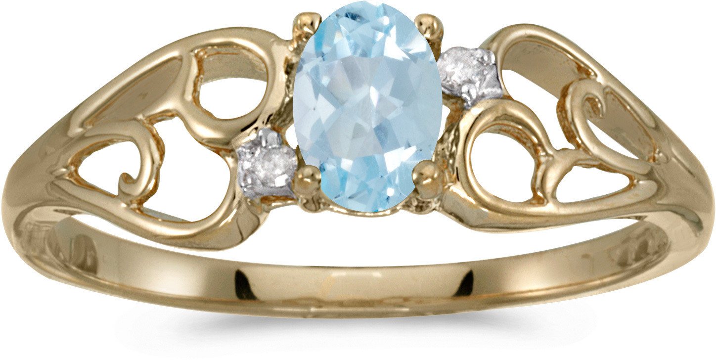 10k Yellow Gold Oval Aquamarine And Diamond Ring (CM-RM2582-03)