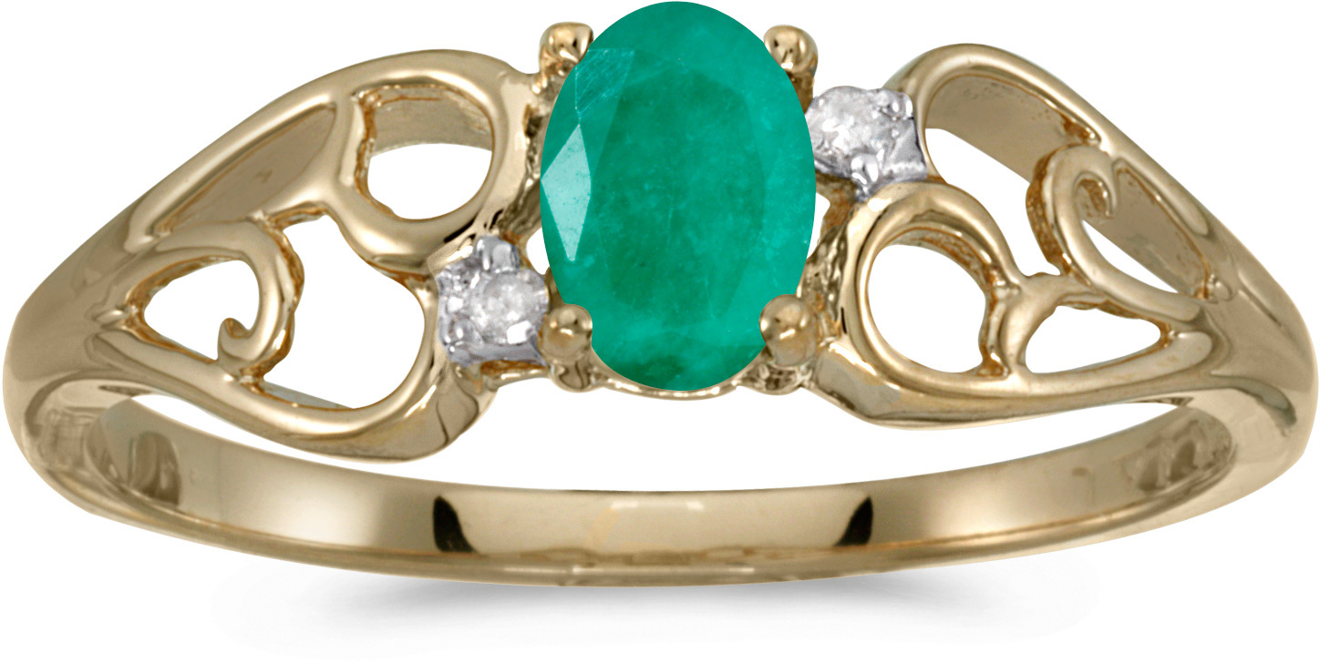 10k Yellow Gold Oval Emerald And Diamond Ring (CM-RM2582-05)