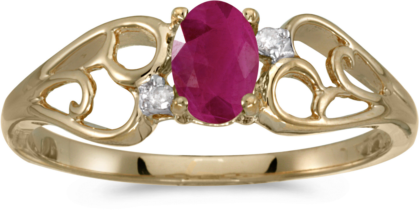 10k Yellow Gold Oval Ruby And Diamond Ring (CM-RM2582-07)