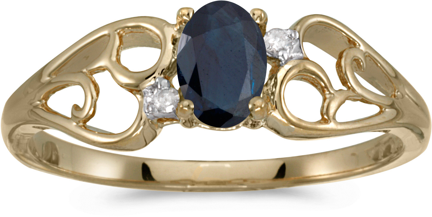 10k Yellow Gold Oval Sapphire And Diamond Ring (CM-RM2582-09)
