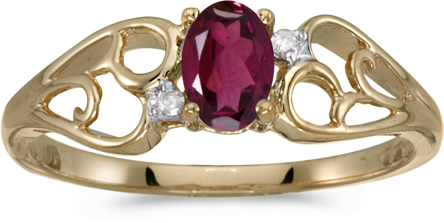 10k Yellow Gold Oval Rhodolite Garnet And Diamond Ring (CM-RM2582-RG)