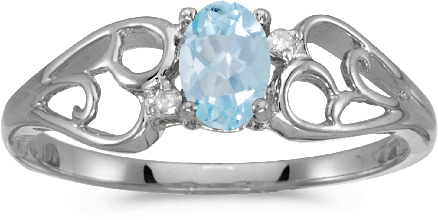 10k White Gold Oval Aquamarine And Diamond Ring (CM-RM2582W-03)