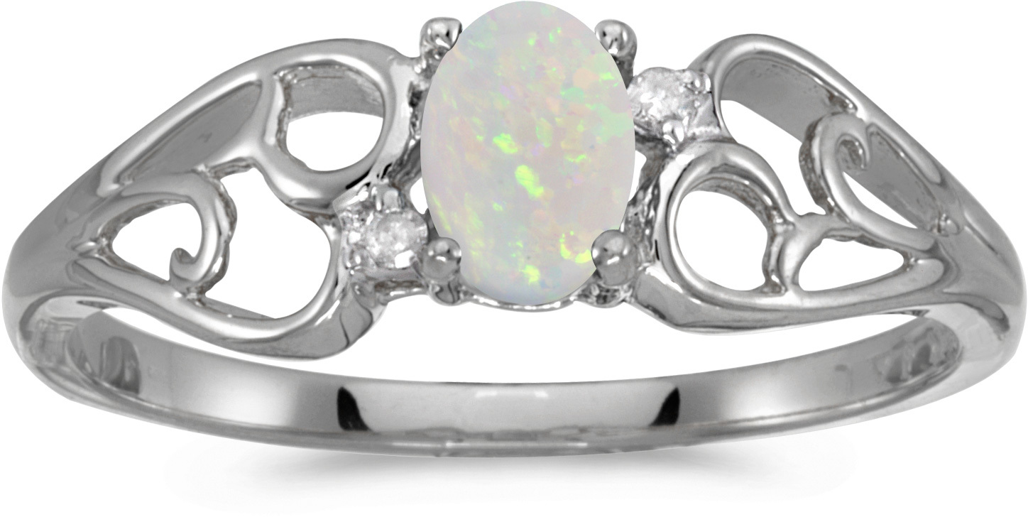 10k White Gold Oval Opal And Diamond Ring (CM-RM2582W-10)