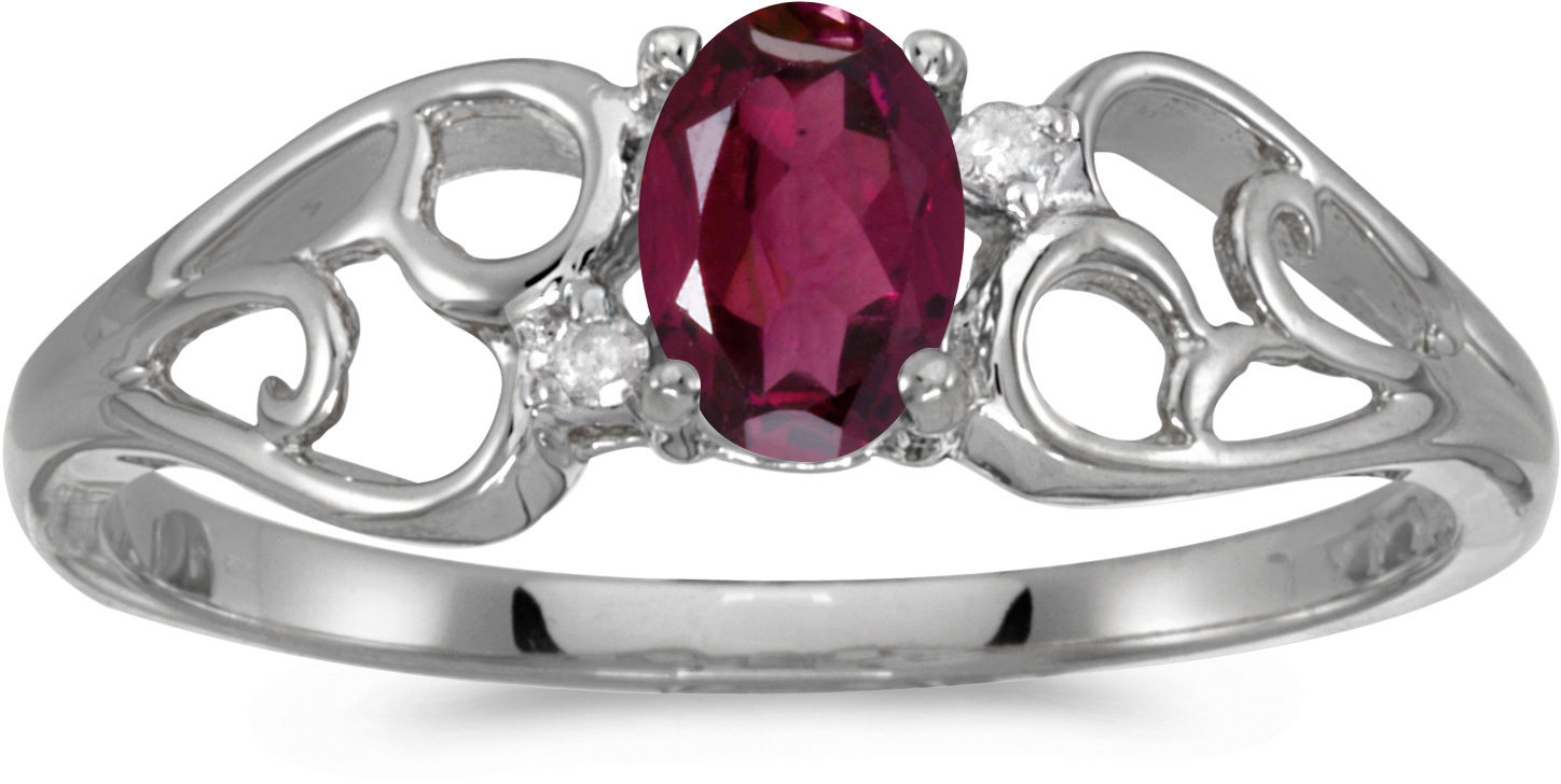 10k White Gold Oval Rhodolite Garnet And Diamond Ring (CM-RM2582W-RG)